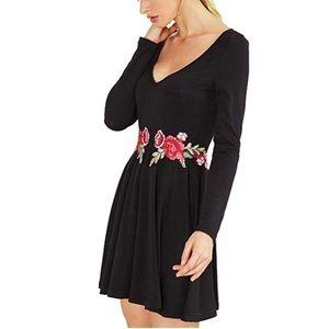 Kara Black Rose Patch Skater A-line Dress